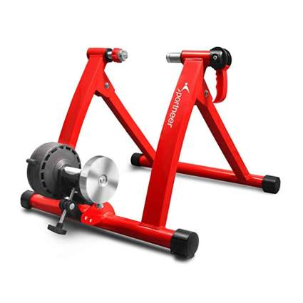 red bike trainer