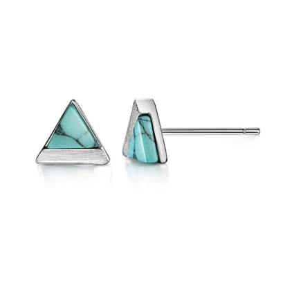 silver and turquoise tiny stud earrings