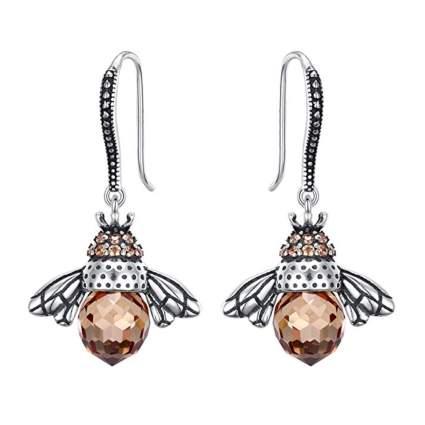 sterling silver queen bee earrings