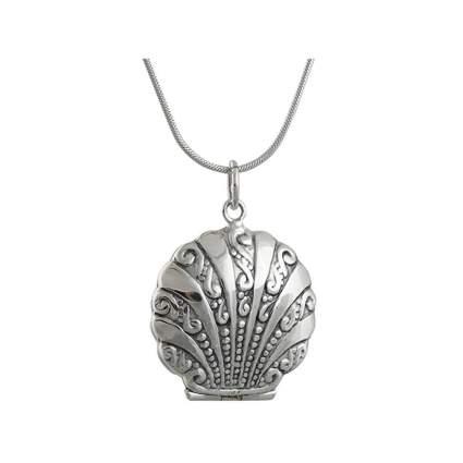 tiny silver seashell locket