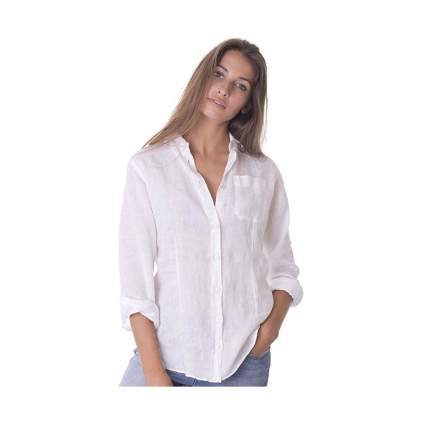 white linen button down shirt