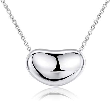 Ashley Jeweller .925 Sterling Silver Bean Charm Necklace Classic Forever
