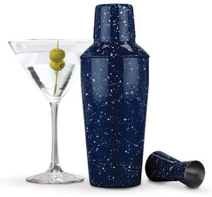Foster & Rye 4653 Enamel Cocktail Shaker and Jigger Set, Blue
