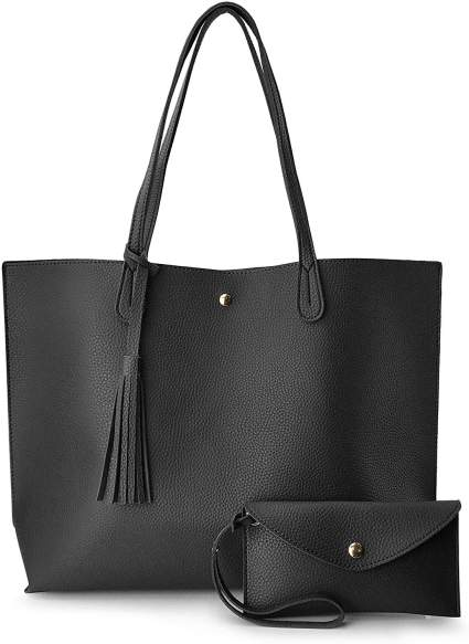 Minimalist Clean Cut Pebbled Faux Leather Tote