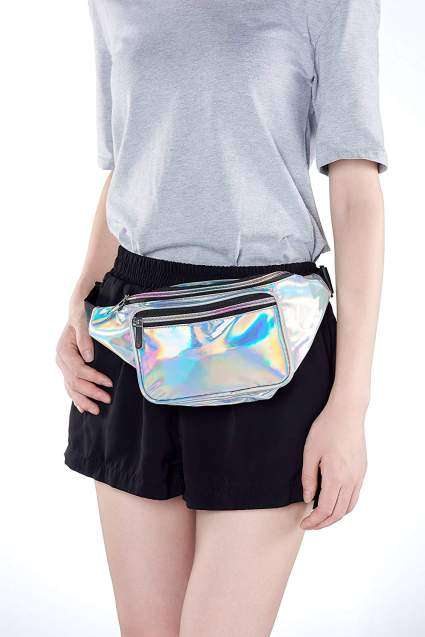 80s Silver Fanny Pack For Women