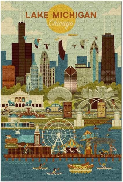 Lake Michigan, Chicago, Illinois - Geometric (20x30 Premium 1000 Piece Jigsaw Puzzle