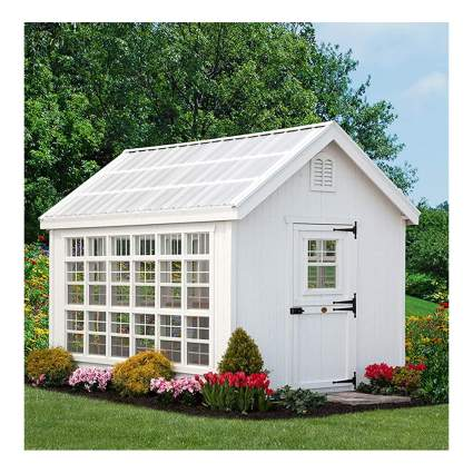 white wood greenhouse