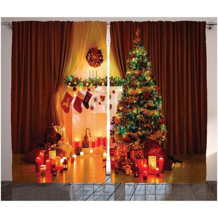 Curtains that look like a Christmas scene