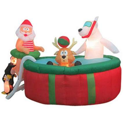Santa and friends in a pool