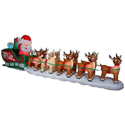 Inflatable Santa's sleigh with reindeer