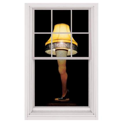 Window with A Christmas Story leg lamp