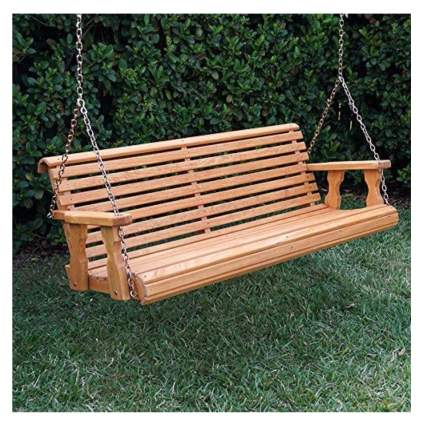amish cedar stained porch swing