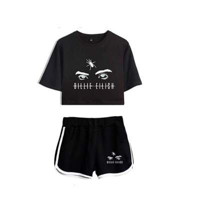 Silver Basic Girl's Fashion Cool Billie Eilish T-Shirt and Shorts Set Short Sleeve Crop Top Fan Tee