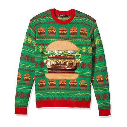 Sweater with a burger on it