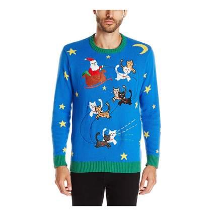 kitty sleigh ride light up christmas sweater
