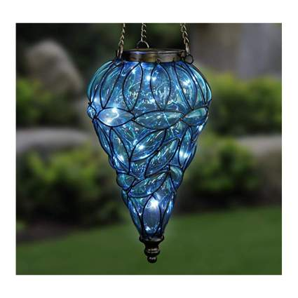 blue hanging solar lantern