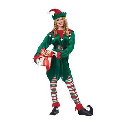 green and red velvet christmas elf costume