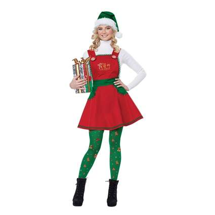 red elf in charge dress and leggings