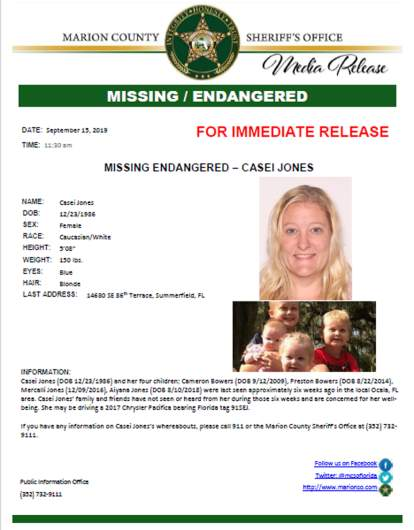 casei jones missing person's alert