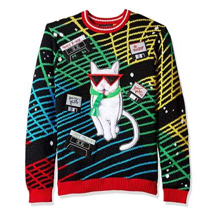 cat mixtape christmas sweater