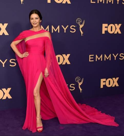 Catherine Zeta Jones supports her husband Michael Douglas at the 71st Emmy Awards.
