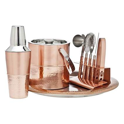 copper barware set with ice bucket and tray