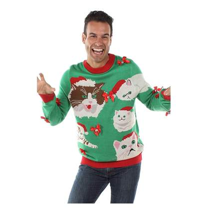 hissing cat christmas sweater