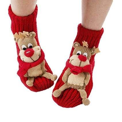 crazy Christmas socks with 3D reindeer