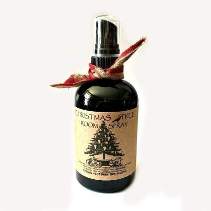 Black room spray bottle with pine label