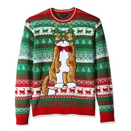 decked out Christmas cat sweater