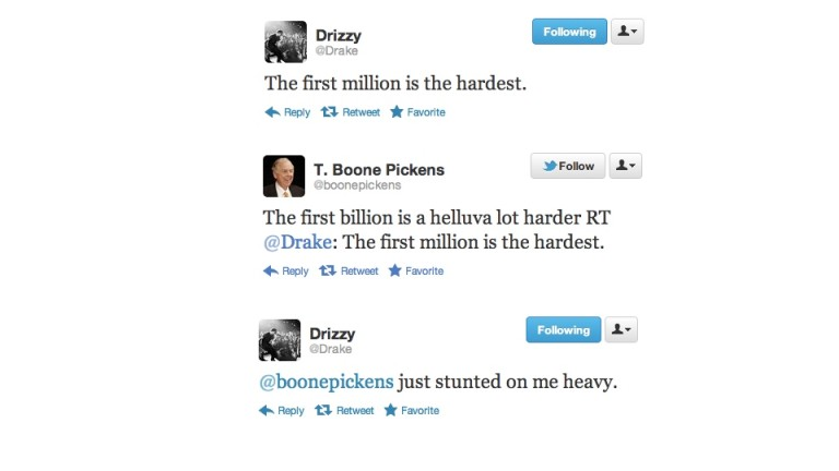 Drake and T. Boone Pickens on Twitter