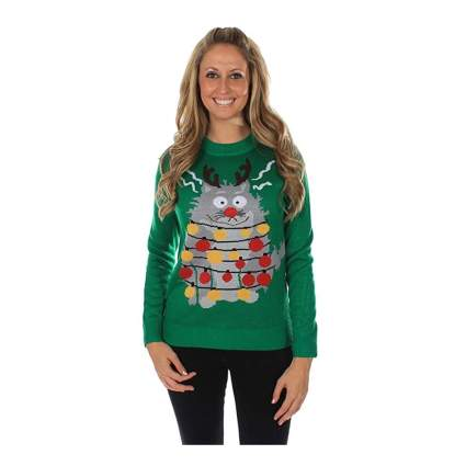 electrocuted cat christmas sweater