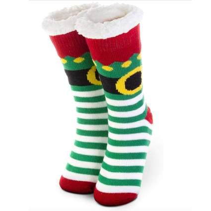 elf costume fuzzy christmas socks