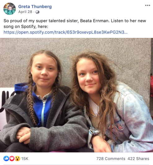Beata and Greta Thunberg Facebook Post