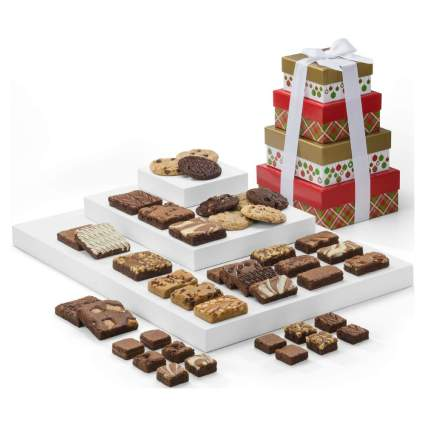 Fairytale Brownies Christmas 4-Box Tower Gourmet Chocoalte Food Basket