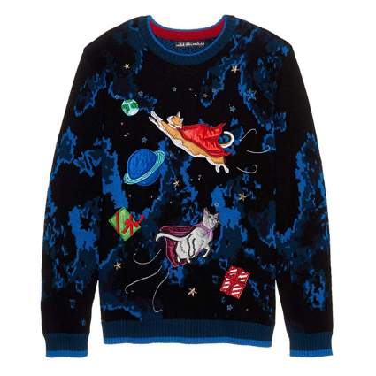 flying space cats light up christmas sweater