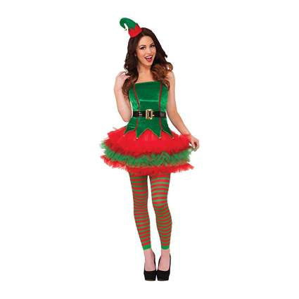 red and green sassy elf dress
