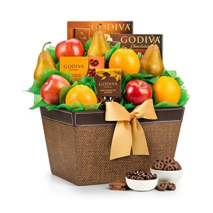 fresh fruit and chocolate gift basket