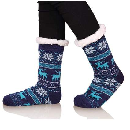 fuzzy christmas socks blue