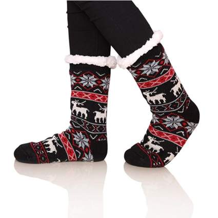 fuzzy christmas socks fleece lined