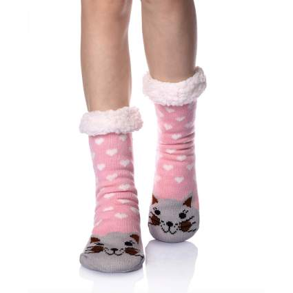 fuzzy christmas socks for cat person