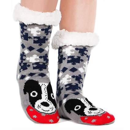 fuzzy christmas socks for dog lovers