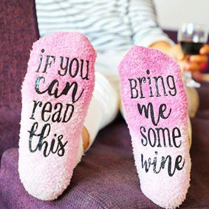 fuzzy christmas socks for wine lover
