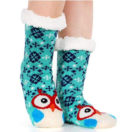 fuzzy christmas socks with kooky owls