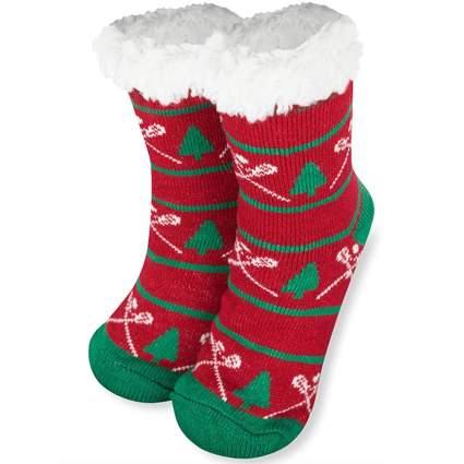 fuzzy christmas socks lacrosse