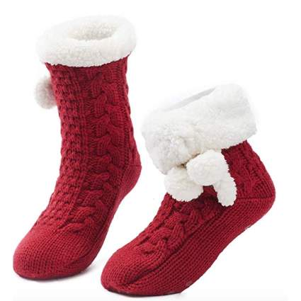 fuzzy christmas socks for women