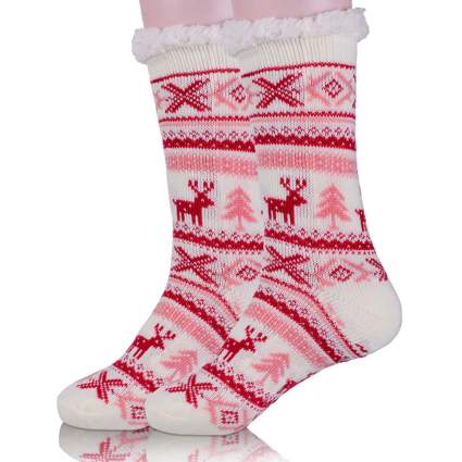 fuzzy christmas socks with pink deer