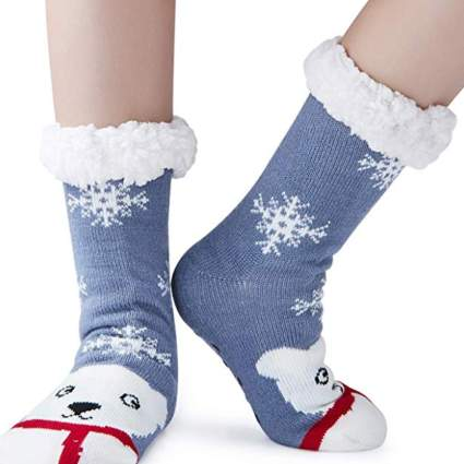 fuzzy christmas socks polar bears