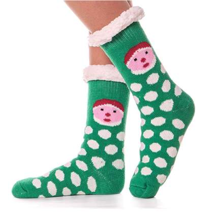 Fuzzy Christmas socks with polka dots