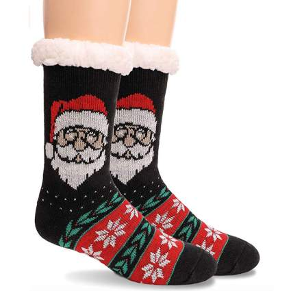 fuzzy christmas socks with traditional santa